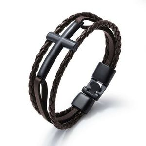 Unisex Leather Braided Cross Bracelet Bangle
